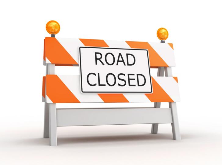 Road Closed Barricade. Illustration.
